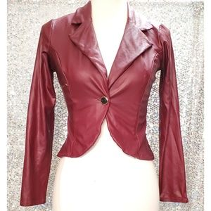 Cute burgundy nonleather fitted lightweight jacket